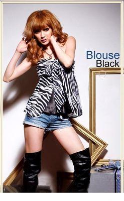 Bluzka Japan Style biało-czarna B908