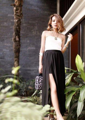 Czarna długa szyfonowa spódnica damska Japan Style S3942