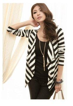 Biało-czarny kardigan damski Japan Style SW3305