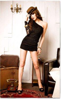 Czarna koronkowa sukienka damska Japan Style S2827
