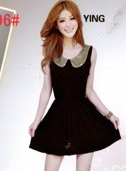 Czarna sukienka ze złotym kołnierzem Japan Style S3589