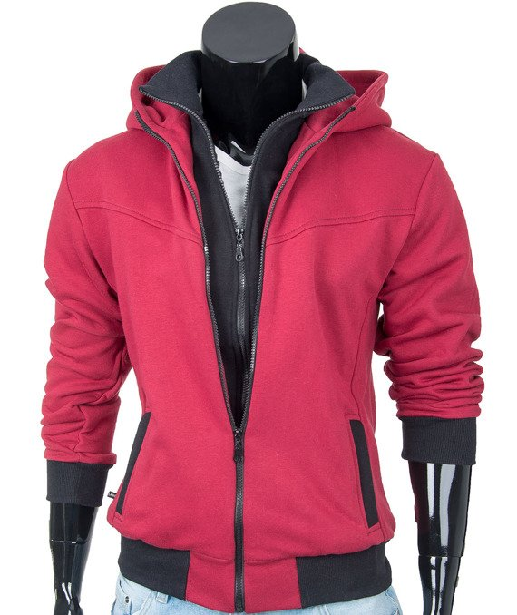 Red knitted men's hoodie CARLO LAMON