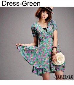 Błękitna sukienka w kwiaty Japan Style S1944