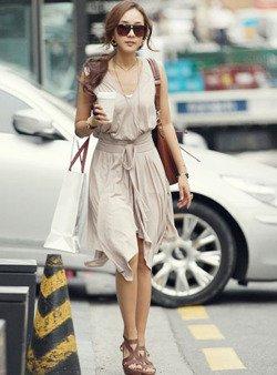 Beżowa zwiewna sukienka damska Japan Style S3671