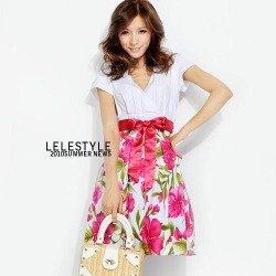 Biało-czerwona sukienka w kwiaty Japan Style S2088