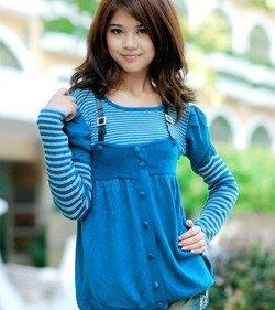 NIebieska bluzka damska Japan Style B2959