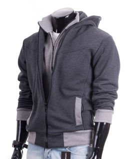 Graphite knitted men's hoodie CARLO LAMON