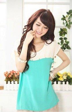 Beżowo miętowa bluzka damska  Japan Style B4089