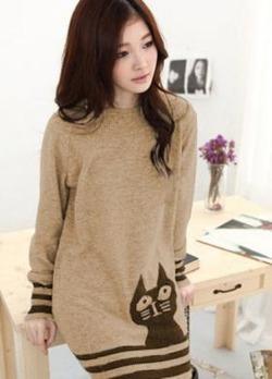 Brązowy sweter z kotem Japan Style SW3952