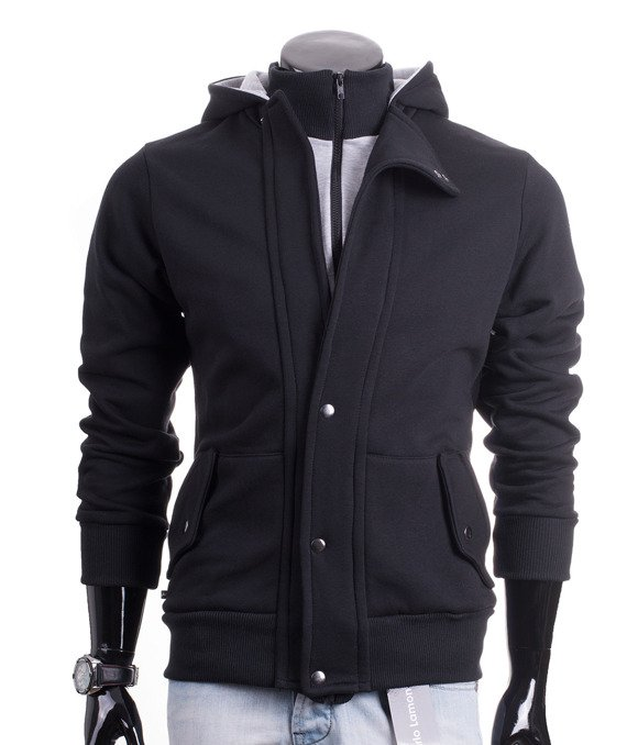 Zip-up black men's hoodie Carlo Lamon