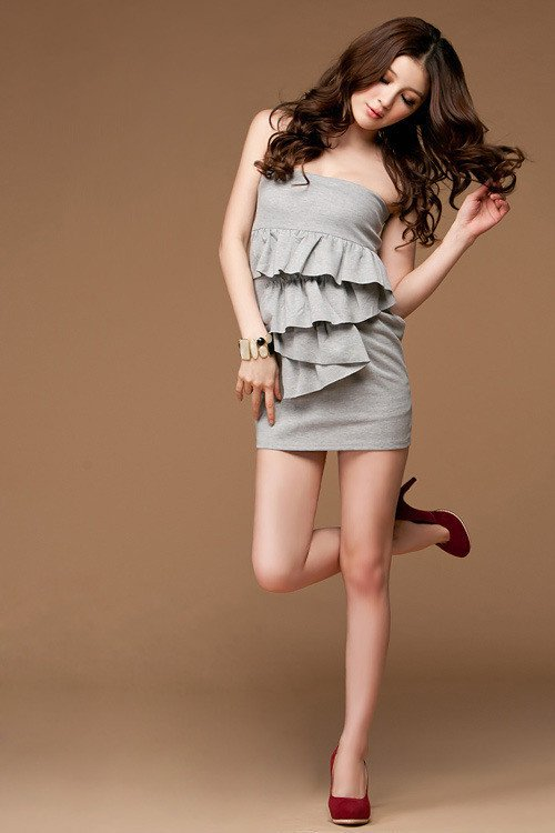 a497822125 Szara sukienka damska z falbanami Japan Style OSTATECZNA WYPRZEDAŻ ...